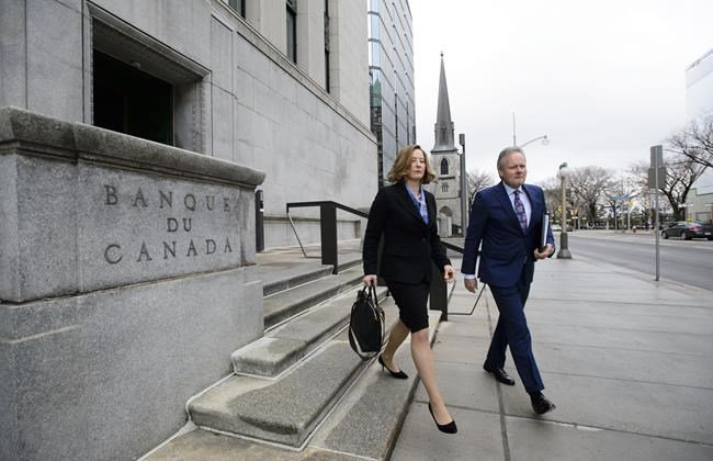 Stephen Poloz, Governor of the Bank of Canada and Senior Deputy Governor Carolyn Wilkins make their way to hold a press conference at the National Press Theatre, in Ottawa on Wednesday, April 24, 2019. THE CANADIAN PRESS/Sean Kilpatrick