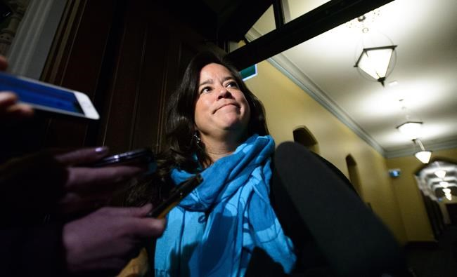 Liberal MP Jody Wilson-Raybould arrives at a caucus meeting on Parliament Hill in Ottawa on Wednesday, Feb. 20, 2019. THE CANADIAN PRESS/Sean Kilpatrick
