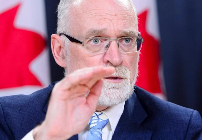 Auditor General Michael Ferguson holds a press conference following the tabling of the AG Report in the House of Commons in Ottawa on Tuesday, May 29, 2018. THE CANADIAN PRESS/Sean Kilpatrick