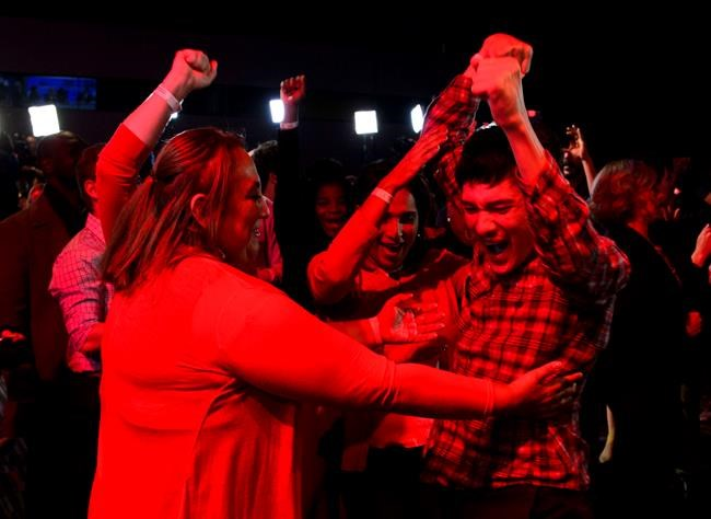 Liberal supporters react as poll numbers come in at Liberal election headquarters in Montreal on Monday Oct. 21, 2019. THE CANADIAN PRESS/Sean Kilpatrick