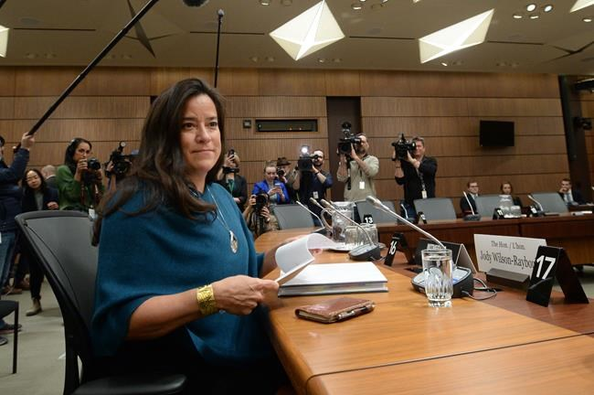 """Former attorney general Jody Wilson-Raybould started and ended her statement with the same word, Gilakas'la, which means """"thank you"""" but also means """"welcome."""" (Sean Kilpatrick / The Canadian Press)"""