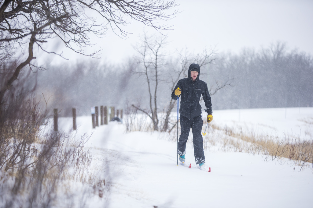 Luke Roffey goes cross-country skiing in fresh snow at Beaudry Park on Tuesday.