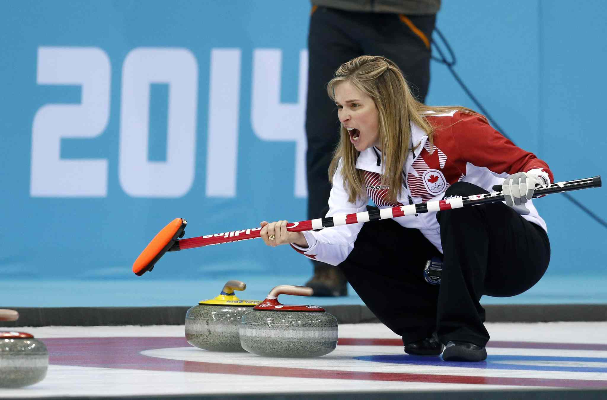 Canada's skip Jennifer Jones during the women's curling semifinal game against Britain at the 2014 Winter Olympics, Wednesday, in Sochi, Russia. Canada defeated Britain and advances to the finals.
