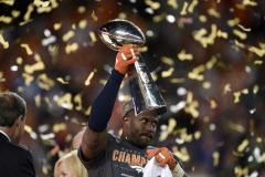 The game's Most Valuable Player, Denver Broncos linebacker Von Miller, celebrates as he holds the Vince Lombardi trophy after a 24-10 win against the Carolina Panthers in Super Bowl 50 at Levi's Stadium in Santa Clara, Calif.. (Jose Carlos Fajardo/Bay Area News Group/TNS)