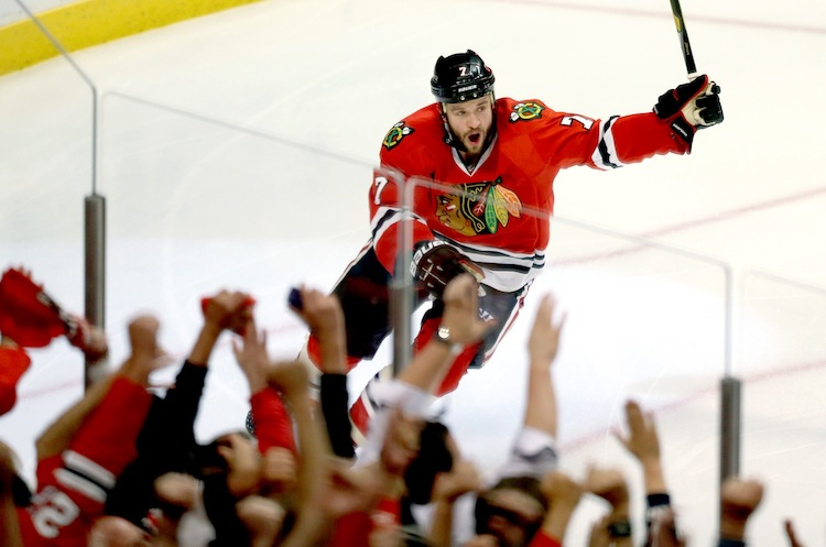 Chicago Blackhawks defenceman Brent Seabrook, right after he scored the game/series-winning goal in overtime.