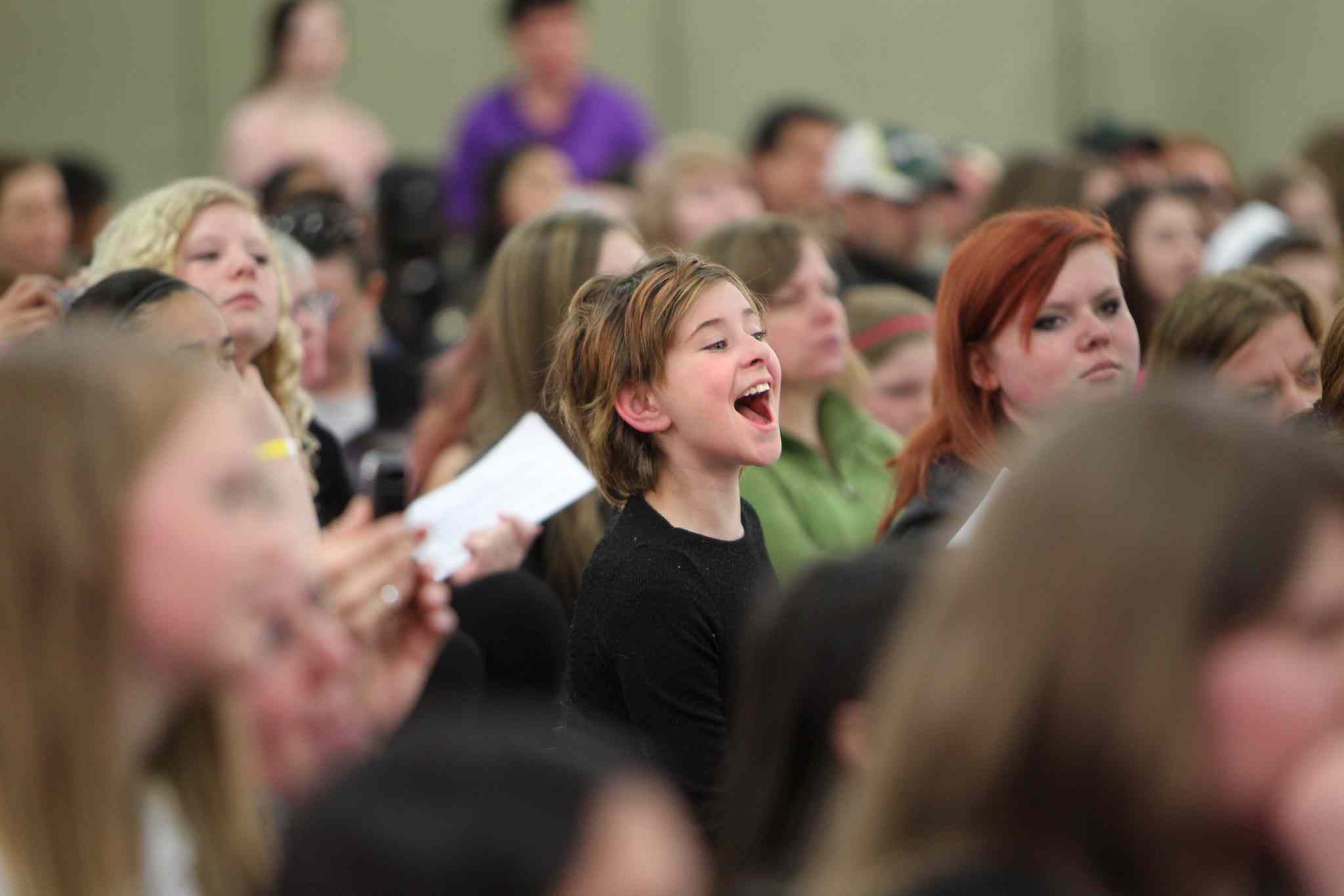 Hundreds of kids show their excitement while waiting in lineups to audition for Next Star at the  convention centre Saturday.
