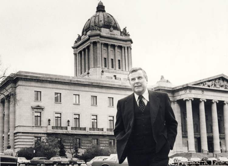 Former premier Sterling Lyon at the Manitoba Legislative Building in 1981, the year he lost his run for a second term in government.