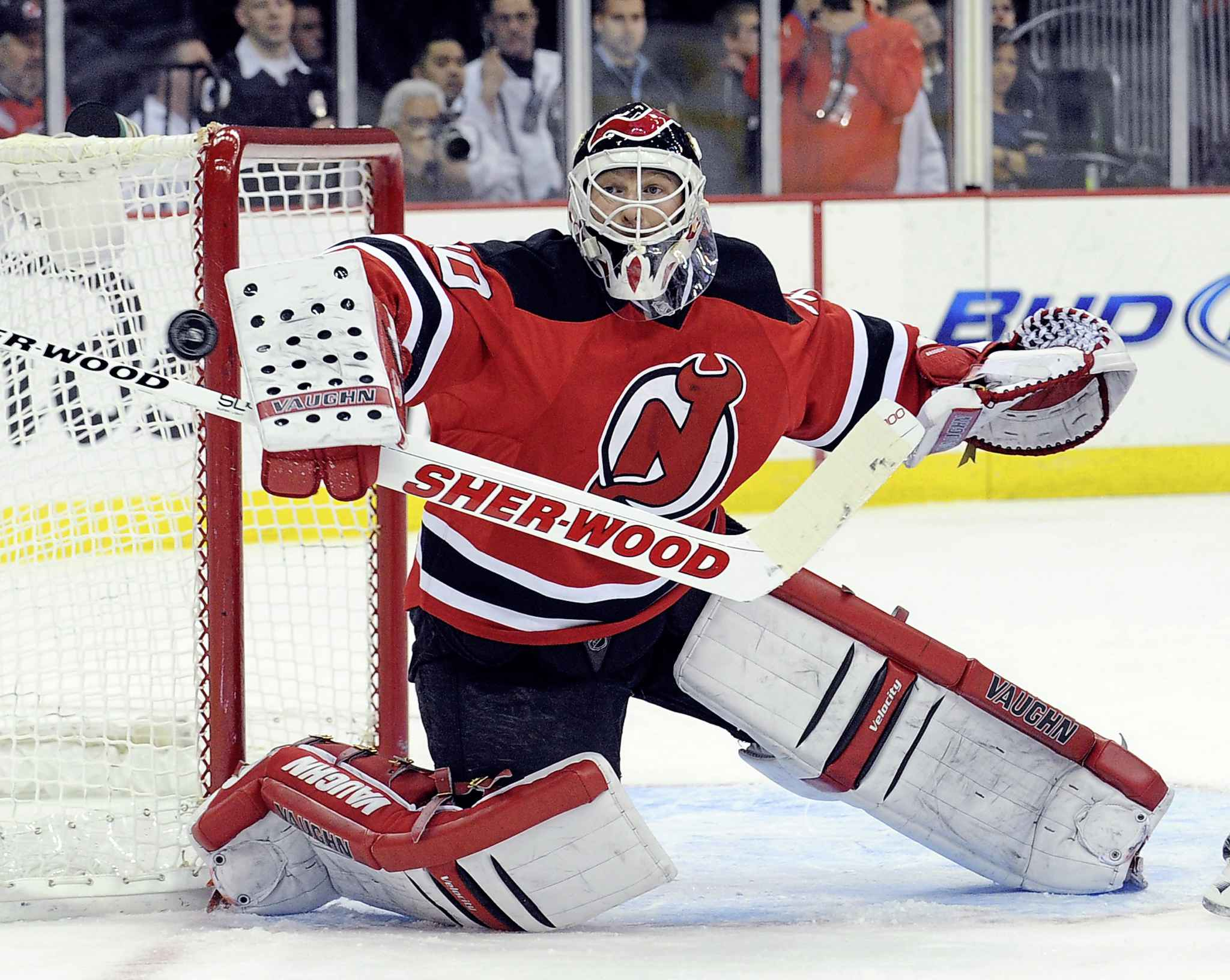 Martin Brodeur was so effective at corralling dump-ins and setting up the breakout the NHL instituted the trapezoid to limit their ability to handle the puck. (Bill Kostroun / The Associated Press files)