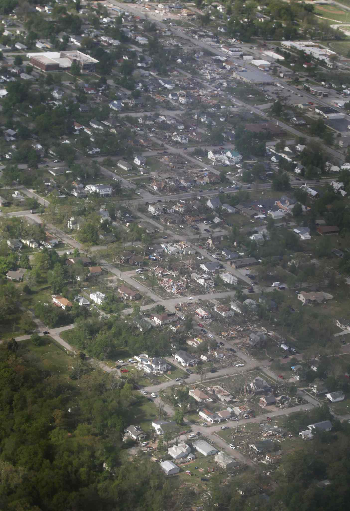 A tornado's path is seen in an aerial photo made over Baxter Springs, Kan.