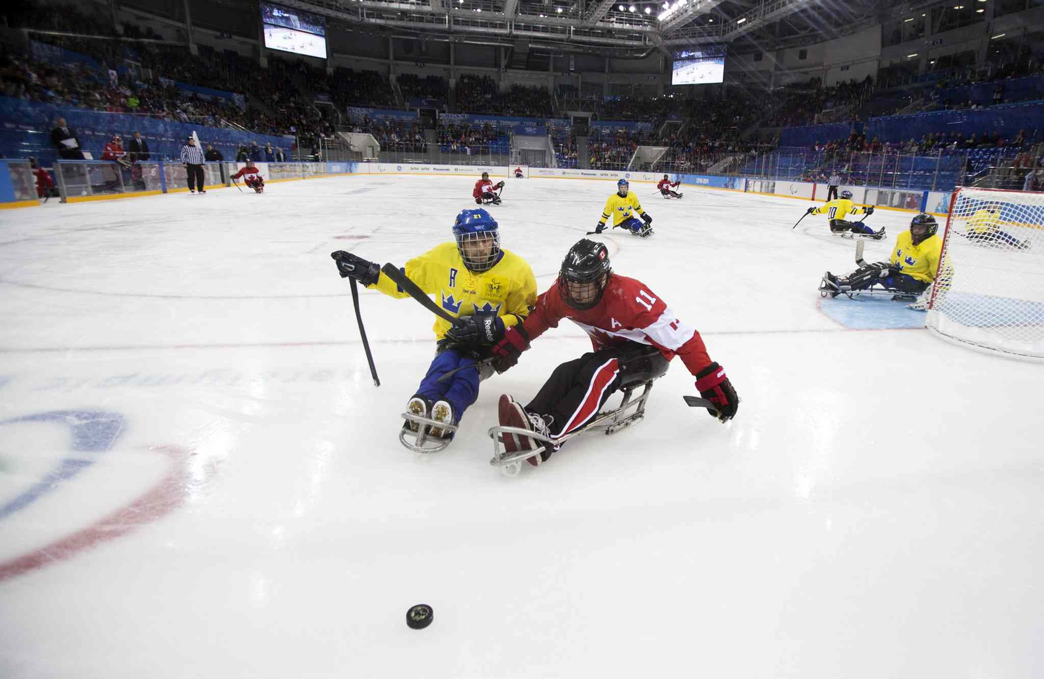 Marcus Holm of Sweden, center left, and Adam Dixon of Canada, center right, chase the puck during the ice sledge hockey match at the Shayba Arena at the 2014 Winter Paralympics in Sochi, Russia, Saturday, March 8, 2014.