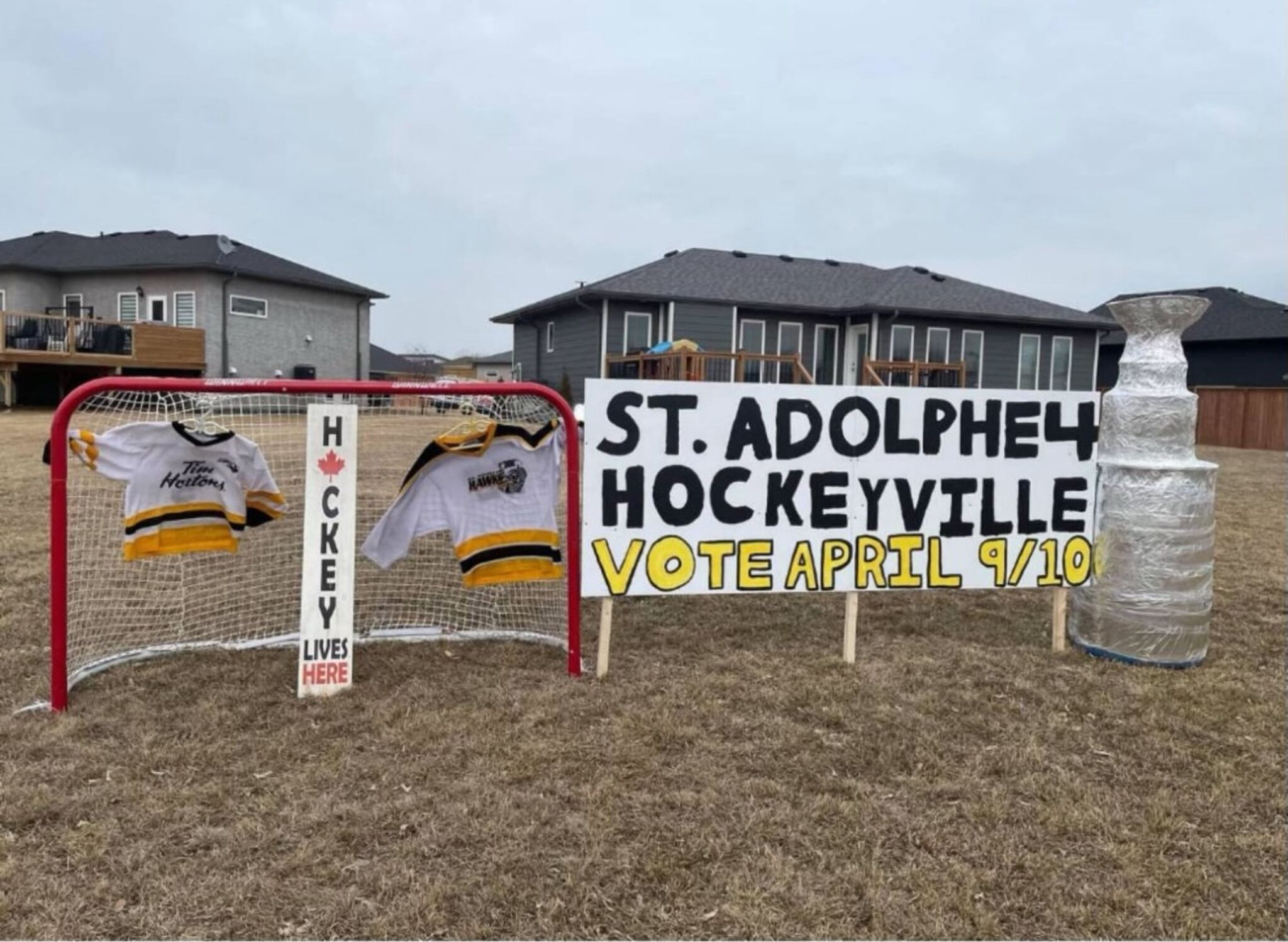 Signs like this are on full display throughout St. Adolphe as voting will be held this weekend for the Kraft Hockeyville national champion.
