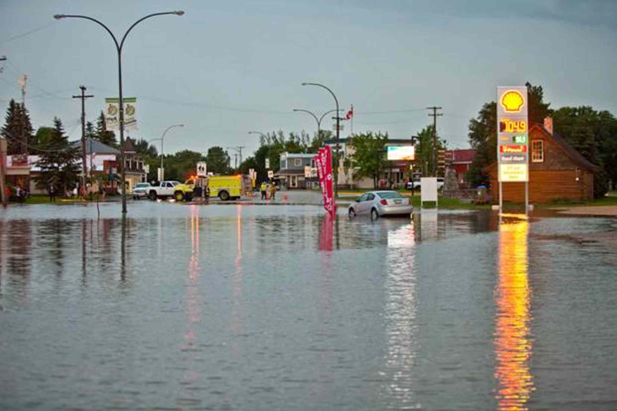 St. Pierre Jolys was deluged with rain, resulting in flooding.