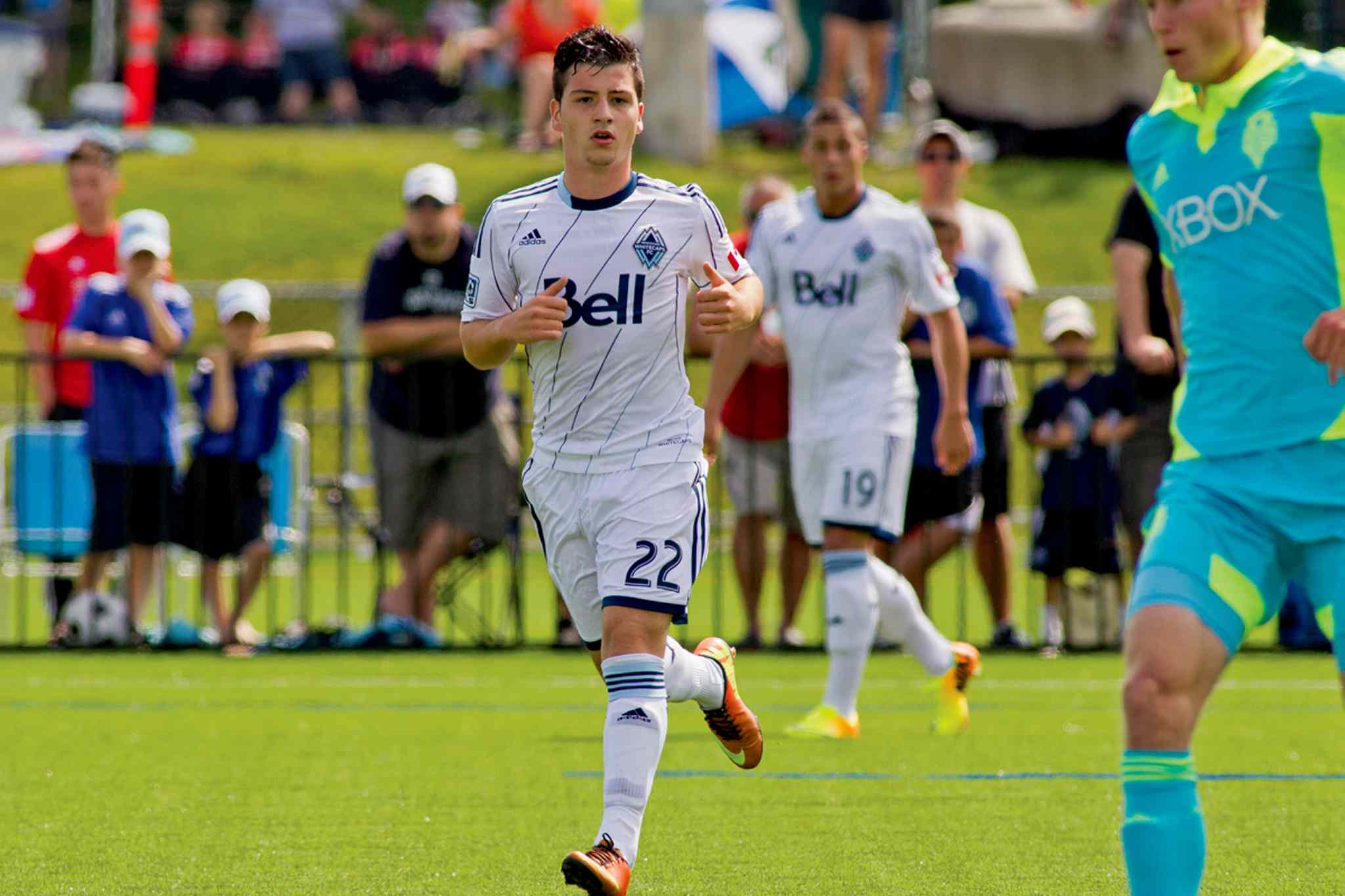 Vancouver Whitecaps midfielder Marco Bustos, who grew up in the Maples, in action against the Seattle Sounders. Bustos will play for Canada at the FIFA U-17 World Cup in UAE.