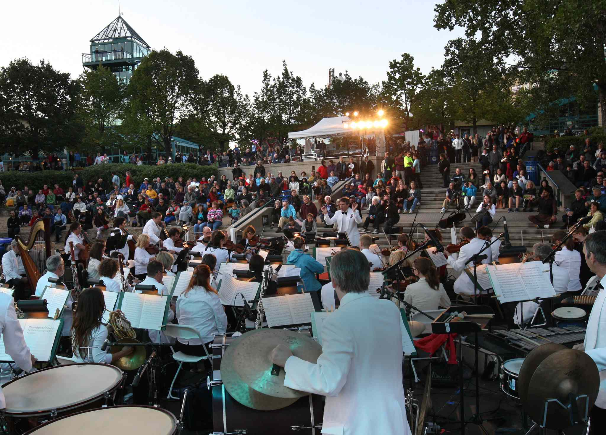 The Winnipeg Symphony Orchestra plays at the 2014 Prairie Barge Festival at The Forks Friday night.
