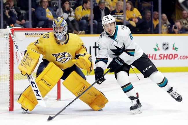 San Jose Sharks right wing Kevin Labanc (62) positions himself in front of Nashville Predators goaltender Juuse Saros (74), of Finland, in the first period of an NHL hockey game Tuesday, Dec. 10, 2019, in Nashville, Tenn. The Predators won 3-1. (AP Photo/Mark Humphrey)