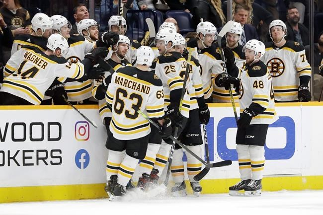 Boston Bruins players celebrate after scoring a short-handed goal against the Nashville Predators in the third period of an NHL hockey game Tuesday, Jan. 7, 2020, in Nashville, Tenn. The Bruins won 6-2. (AP Photo/Mark Humphrey)