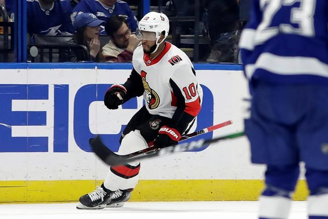 Ottawa Senators left wing Anthony Duclair (10) celebrates after scoring against the Tampa Bay Lightning during the second period of an NHL hockey game Tuesday, Dec. 17, 2019, in Tampa, Fla. (AP Photo/Chris O'Meara)