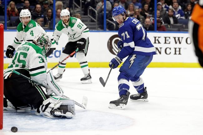 Tampa Bay Lightning center Anthony Cirelli (71) watches his backhanded shot go wide of Dallas Stars goaltender Anton Khudobin (35) during the second period of an NHL hockey game Thursday, Dec. 19, 2019, in Tampa, Fla. (AP Photo/Chris O'Meara)