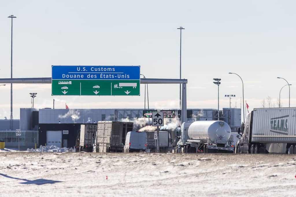 Semi trucks at the border crossing in Emerson, Manitoba in January. Truckers returning home from the U.S. remain exempt from federal quarantine rules, despite making up 25,000 monthly crossings into Manitoba.