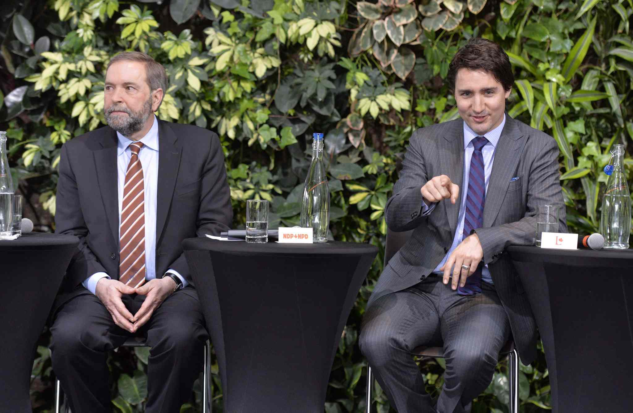 NDP Leader Tom Mulcair (left) and Liberal Leader Justin Trudeau.