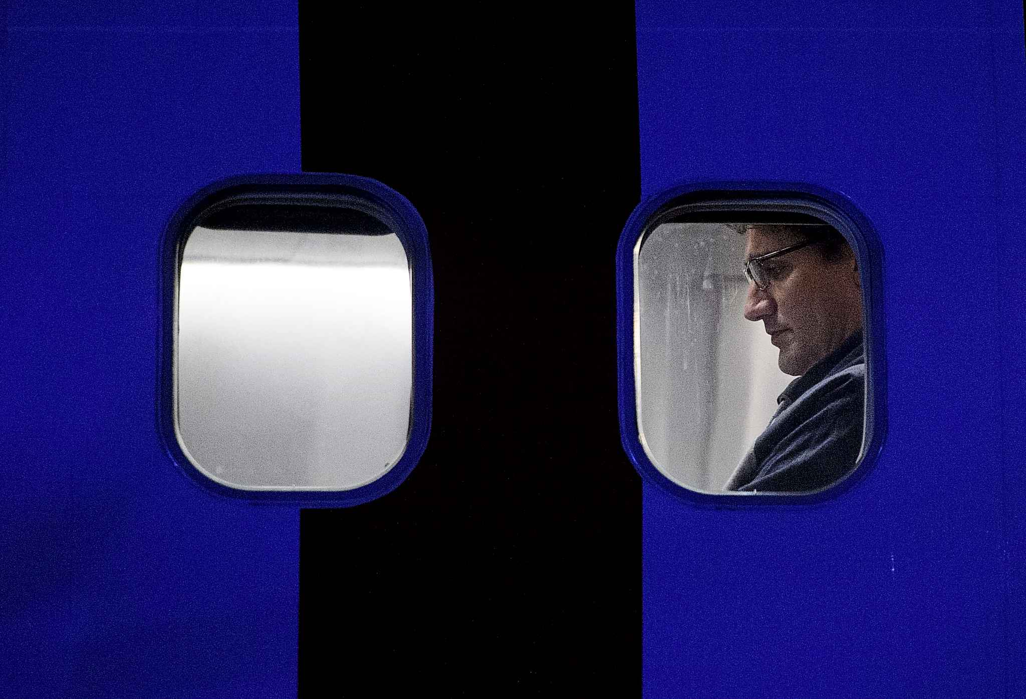 Liberal Leader Justin Trudeau waits to take off on his campaign plane after attending the rally in Winnipeg, Saturday.