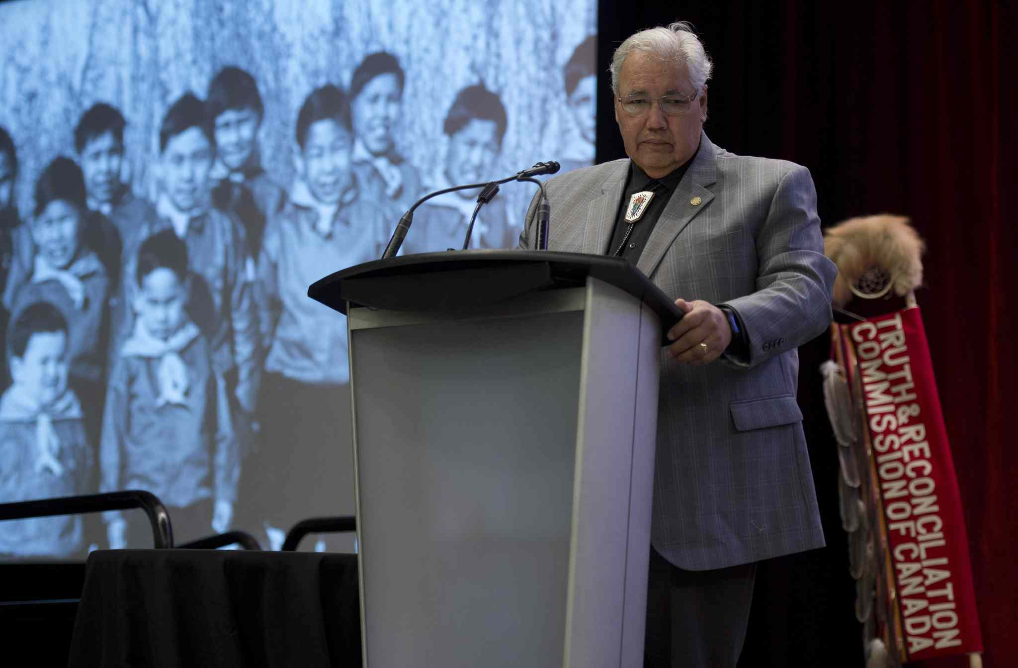 Commission chairman Justice Murray Sinclair speaks at the Truth and Reconciliation Commission  in Ottawa Tuesday.