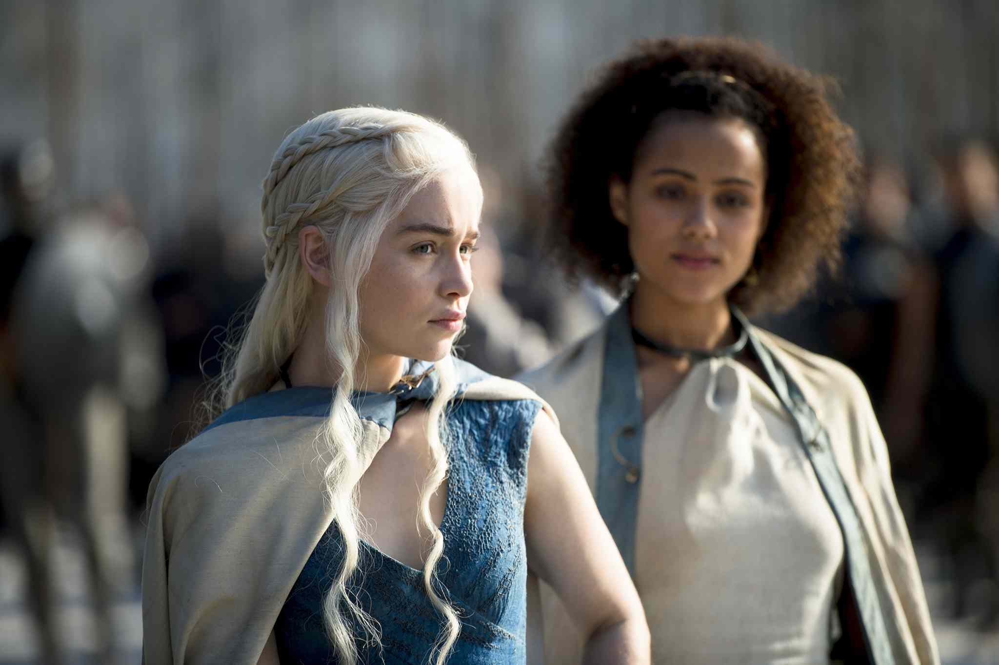 Emilia Clarke, left, and Nathalie Emmanuel are shown in Season 4 of 'Game of Thrones.'