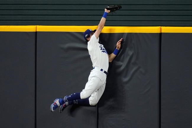 Los Angeles Dodgers' Cody Bellinger slams into the outfield wall and makes the catch as he robs San Diego Padres' Fernando Tatis Jr. of a home run on a deep drive during the seventh inning in Game 2 of a baseball National League Division Series Wednesday, Oct. 7, 2020, in Arlington, Texas. (AP Photo/Sue Ogrocki)