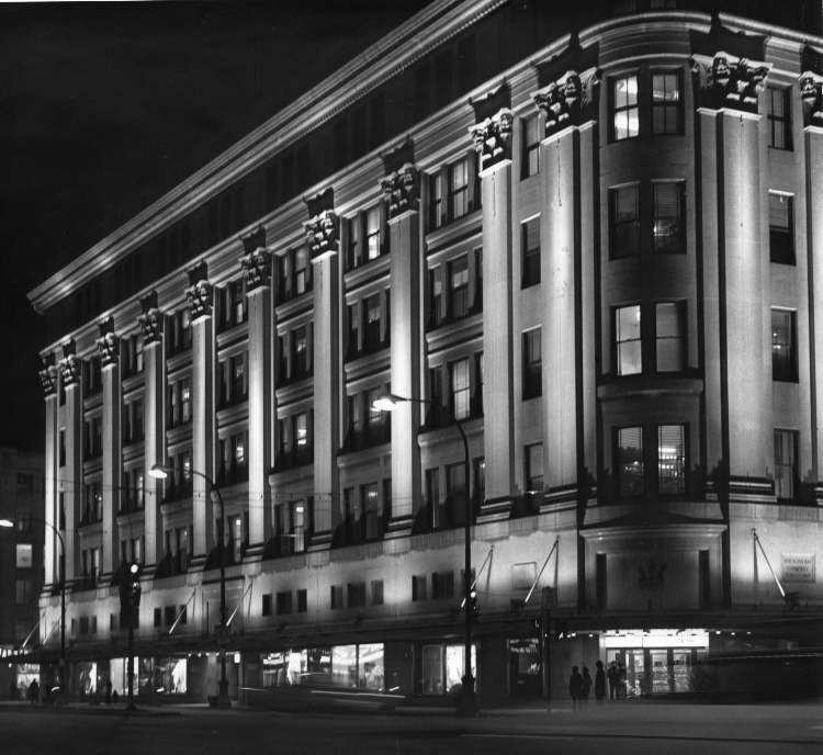 Hudson's Bay Co. downtown store is bathed in light on March 13, 1973.  - Gerry Cairns / Winnipeg Free Press Archives