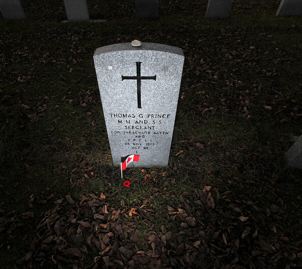 Tommy Prince lies in Brookside Cemetery's Field of Honour.