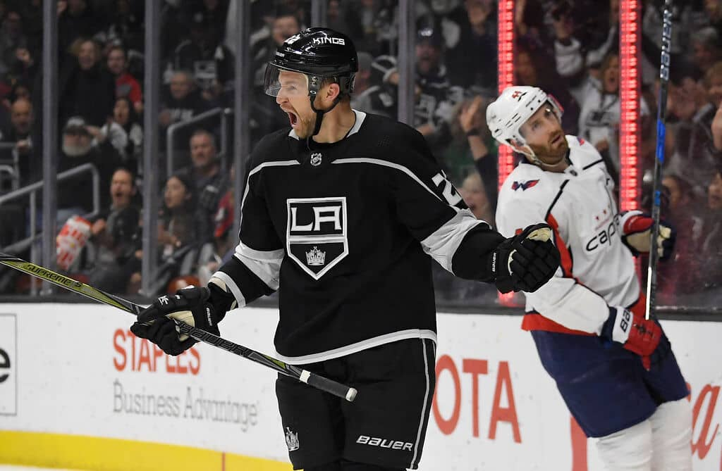 Former Los Angeles Kings centre Trevor Lewis, left, has been invited to Winnipeg Jets training camp on a professional tryout offer. (AP Photo/Mark J. Terrill)