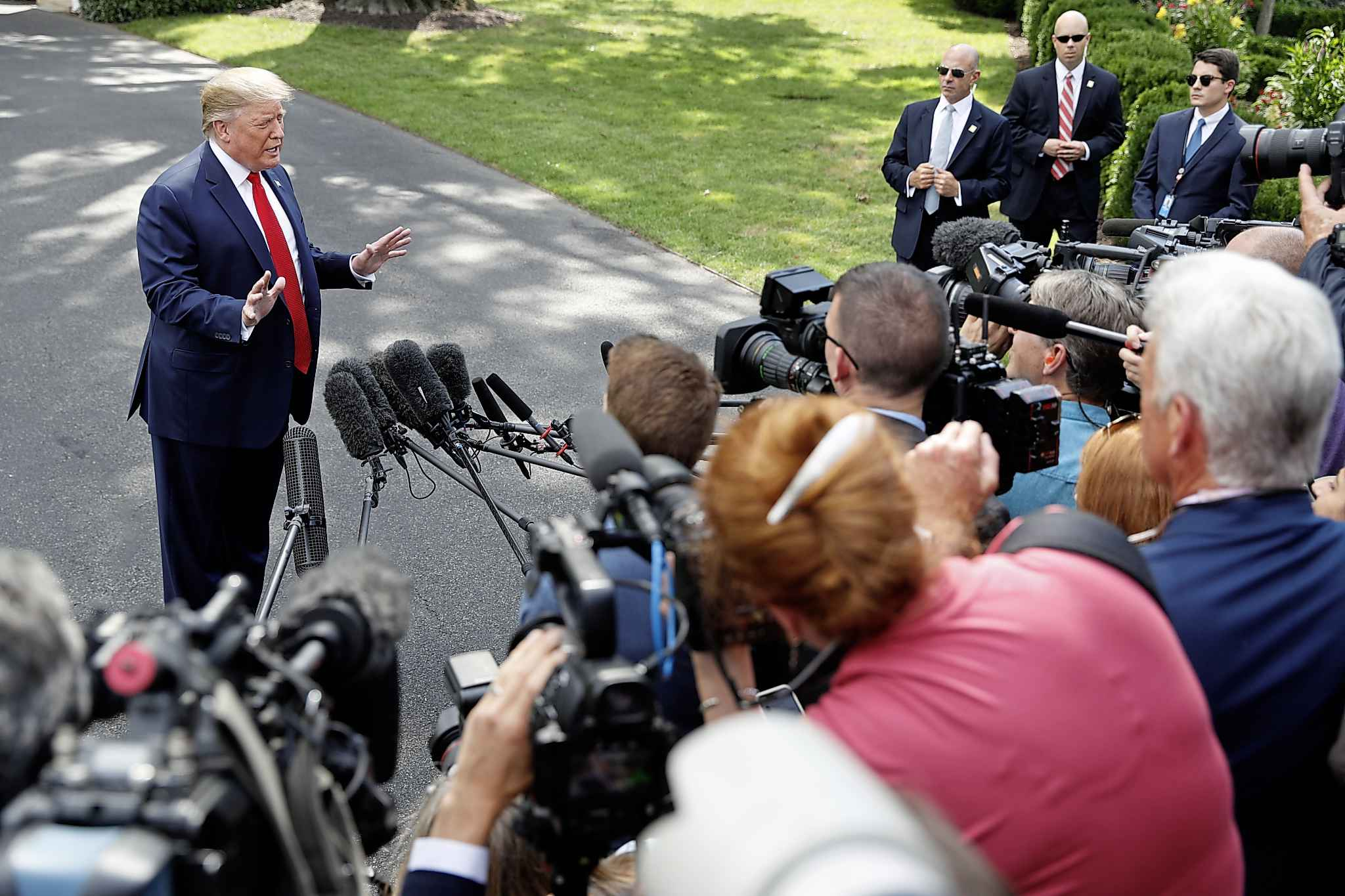 President Donald Trump speaks to the media about the testimony of White House Special Counsel Robert Mueller to Congress, Wednesday, July 24, 2019, at the White House in Washington. (AP Photo/Jacquelyn Martin)