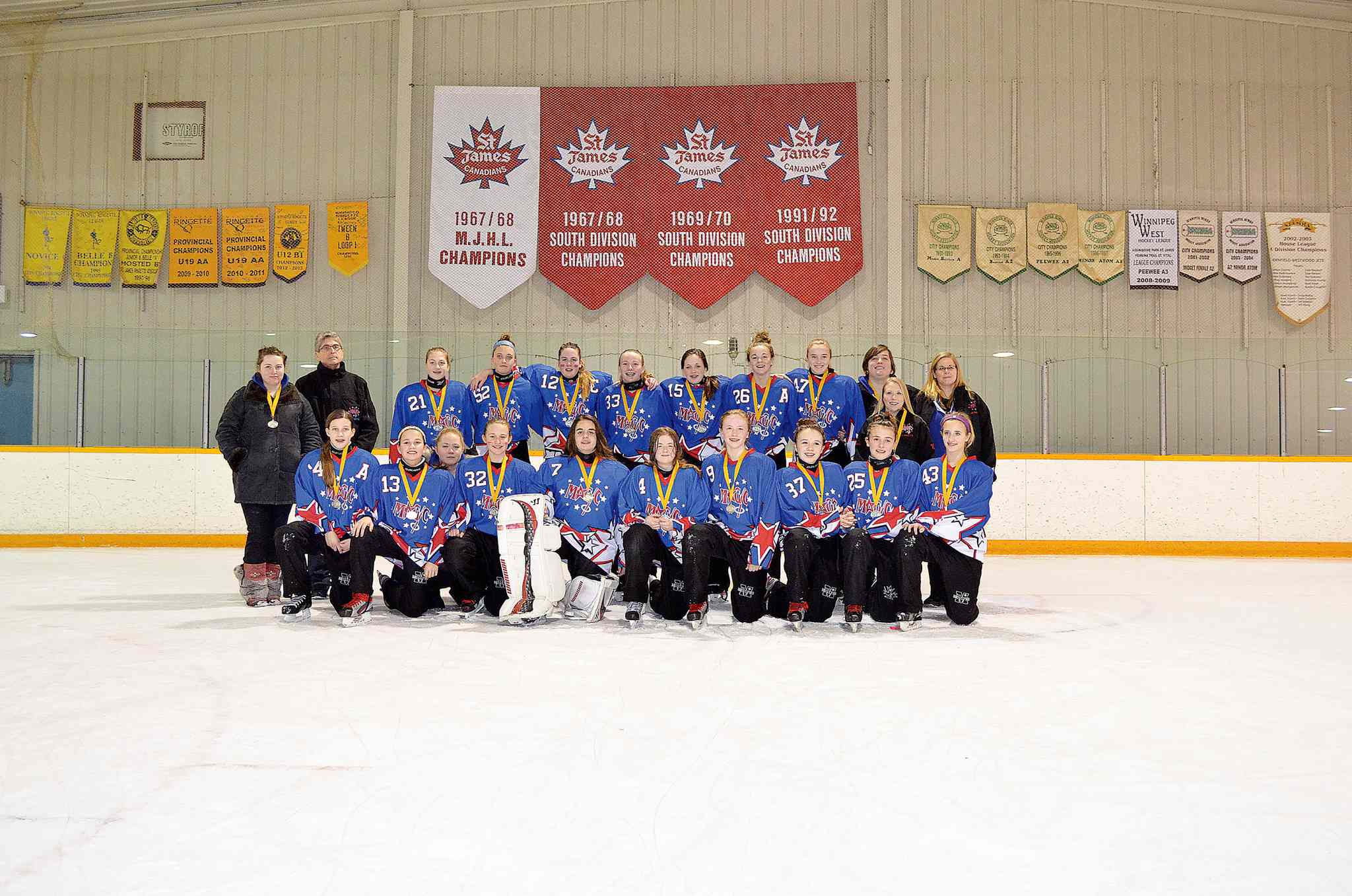The Magic U14AA ringette team won silver in the Manitoba Ringette Association's AA Provincials. (Front, from left) Kennedy Vancoughnett, Aryn Oakley, Lyndsey Sims (assistant coach), Makayla Dyck, Belle Groen, Savannah  Aitken, Meagan Smith, Janessa May, Ashley Gallant, and Cierra Melnyk. (Back row, from left) Teresa Wells (assistant coach), D'Arcy Bain (assistant coach), Mackenzie Eisbrenner, Brett Van Nieuw Amerongen, Carleigh Petersen, Amy  Slobodian, Harley Friesen, Rikki Frost-Hunt, Jaclyn Keddie, Laura Edmonds (assistant coach), Erin Sarahs (assistant coach), and Kelly Sims (head coach).