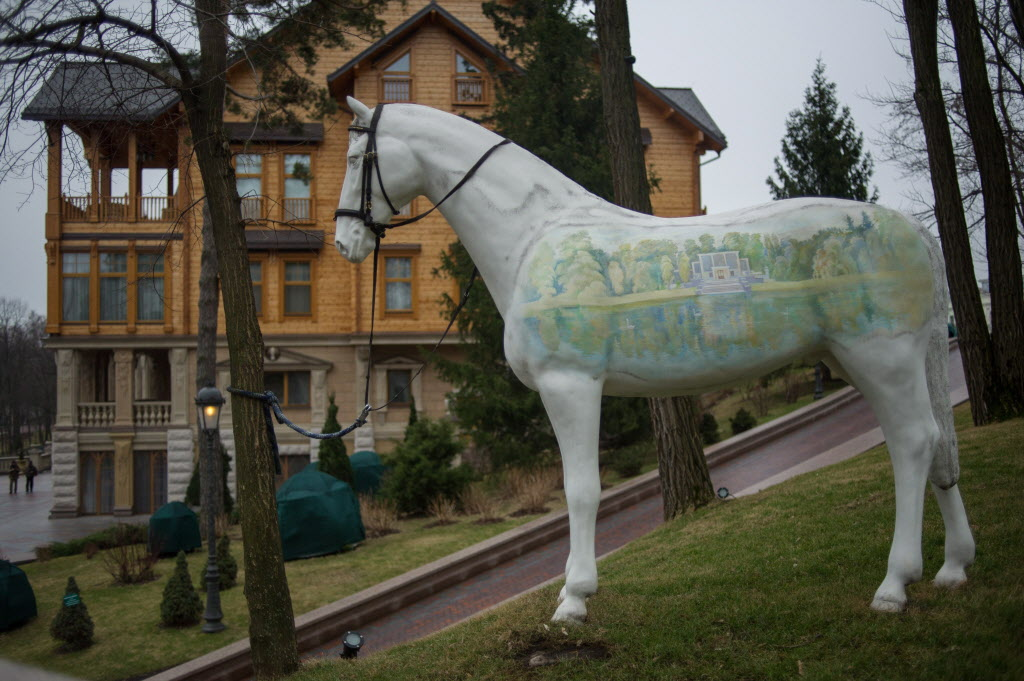 An ornamental horse stands outside Ukrainian President Viktor Yanukovych's countryside residence.