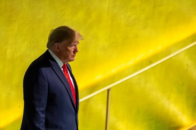 U.S. President Donald Trump arrives to address the 74th session of the United Nations General Assembly at U.N. headquarters Tuesday, Sept. 24, 2019. (AP Photo/Mary Altaffer)