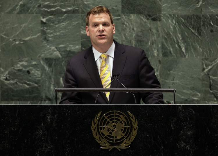 Canada's Foreign Minister John Baird addresses the United Nations General Assembly, Thursday.