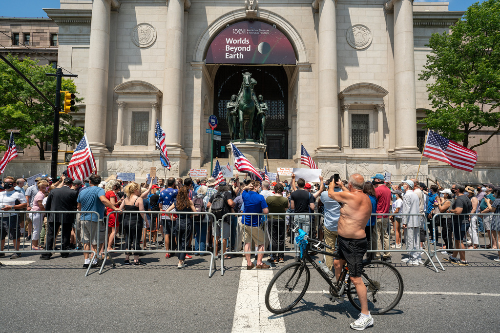 A rally led by the New York Young Republican Club on June 28 called for the Equestrian Statue of Theodore Roosevelt to remain in place. The American Museum of Natural History requested that the statue be removed. (David Dee Delgado / Getty Images files)