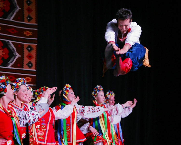 Bright-coloured costumes and acrobatics are part of the Ukrainian Pavilion's popularity.