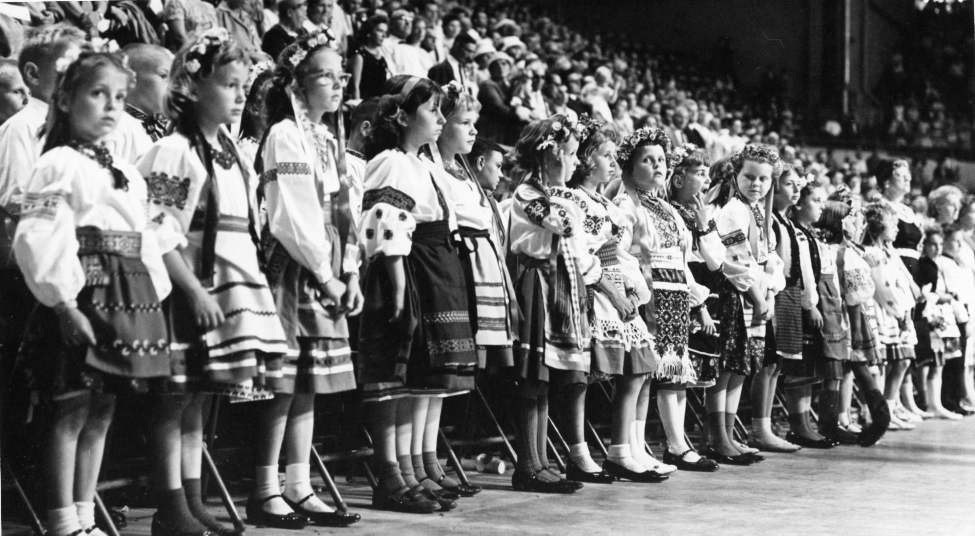Winnipeg Free Press Archives July 10, 1961 Young girls in Ukrainian costumes. Members of various Ukrainian youth organizations paid tribute to poet Taras Shevchenko Saturday at a youth festival at the Winnipeg Arena.