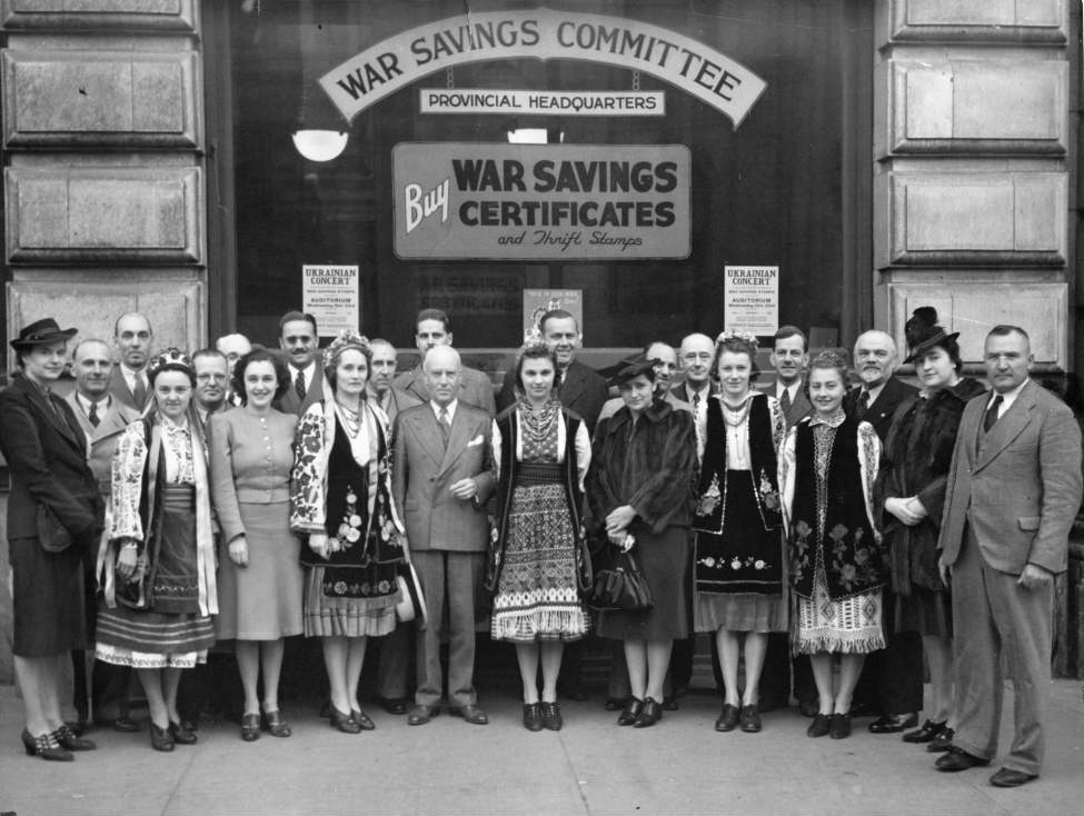 Winnipeg Free Press Archives October 19, 1940 To raise funds for carrying on the battle Winnipeg Ukrainians are staging a war savings concert at the civic auditorium at 8:30 p.m., Wednesday, October 23. Seen in this photo are some of the performers and the war savings committee. Those taking part will include the Topper male quartet, radio artists, the Dizzy Dozen, also heard on the air; the CBC Harmonettes, and Luba Novnk, Constance Stefanik, Donna Grescoe and Joan Maraz, concert artists, Ukrainian folk dances will afford opportunities for the display of gorgeous national costumes and the Ukrainian choir and Ukrainian orchestra will present several numbers.