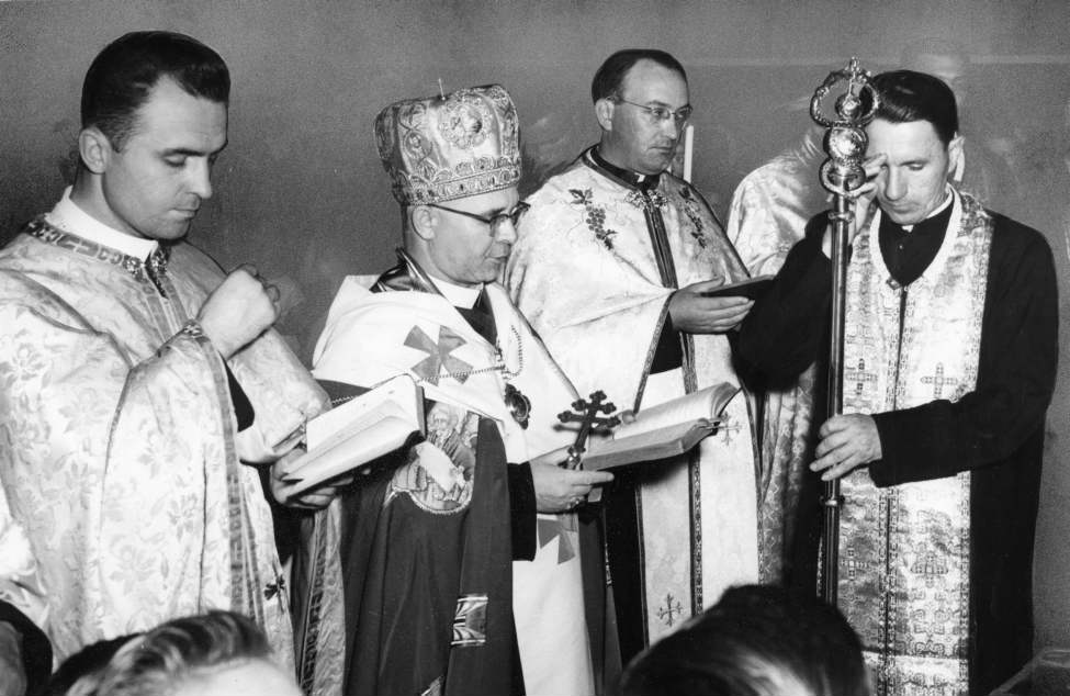 Winnipeg Free Press Archives June 11, 1959 A new Ukrainian Catholic Hall was opened and blessed at Dauphin Sunday by His Grace, Metropolitan M. Hermaniuk, CSSR, DD, Archbishop of Winnipeg. The picture shows the archbishop and his assistants during the opening service.