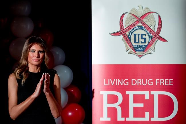First lady Melania Trump, applauds student awardees at a Red Ribbon Rally at the Drug Enforcement Agency in Arlington, Va., Monday, Oct. 7, 2019.(AP Photo/Andrew Harnik)