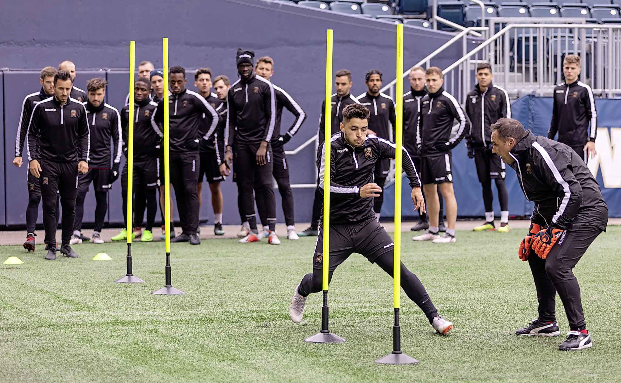 Valour FC team members get put through some drills at Investors Group Field ahead of their home opener on Saturday.