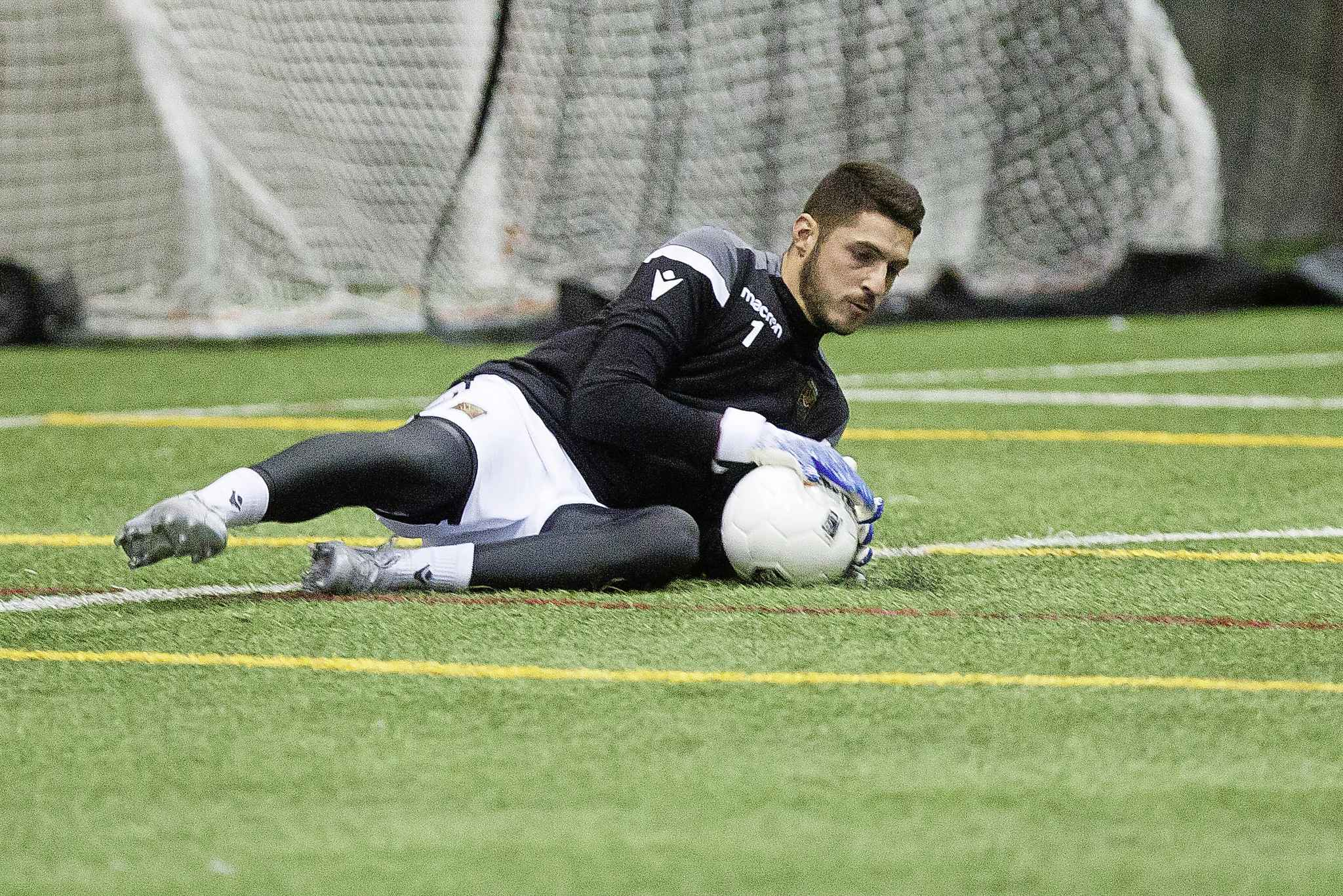 Valour FC Goalie James Pantemis during training camp at WSF Soccer South Monday morning.