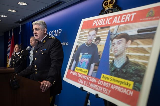 Security camera images recorded in Saskatchewan of Kam McLeod, 19, and Bryer Schmegelsky, 18, are displayed as RCMP Assistant Commissioner Kevin Hackett speaks during a news conference in Surrey, B.C., on Tuesday July 23, 2019. RCMP say two British Columbia teenagers who were first thought to be missing are now considered suspects in the deaths of three people in northern B.C. The bodies of Australian Lucas Fowler, his girlfriend Chynna Deese, of Charlotte, N.C., and an unidentified man were found a few kilometres from the teens' burned-out vehicle. THE CANADIAN PRESS/Darryl Dyck