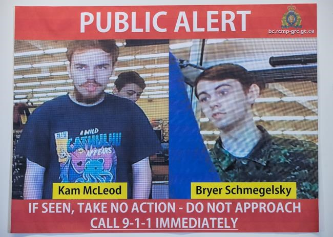 Security camera images recorded in Saskatchewan of Kam McLeod, 19, and Bryer Schmegelsky, 18, are displayed during an RCMP news conference in Surrey, B.C., on Tuesday July 23, 2019. RCMP say two British Columbia teenagers who were first thought to be missing are now considered suspects in the deaths of three people in northern B.C. The bodies of Australian Lucas Fowler, his girlfriend Chynna Deese, of Charlotte, N.C., and an unidentified man were found a few kilometres from the teens' burned-out vehicle. THE CANADIAN PRESS/Darryl Dyck