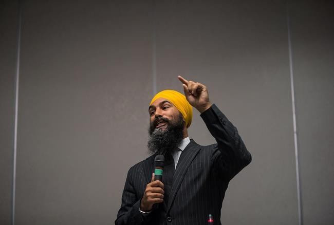 NDP Leader Jagmeet Singh speaks during the second day of a three-day NDP caucus national strategy session in Surrey, B.C., on Wednesday September 12, 2018. THE CANADIAN PRESS/Darryl Dyck
