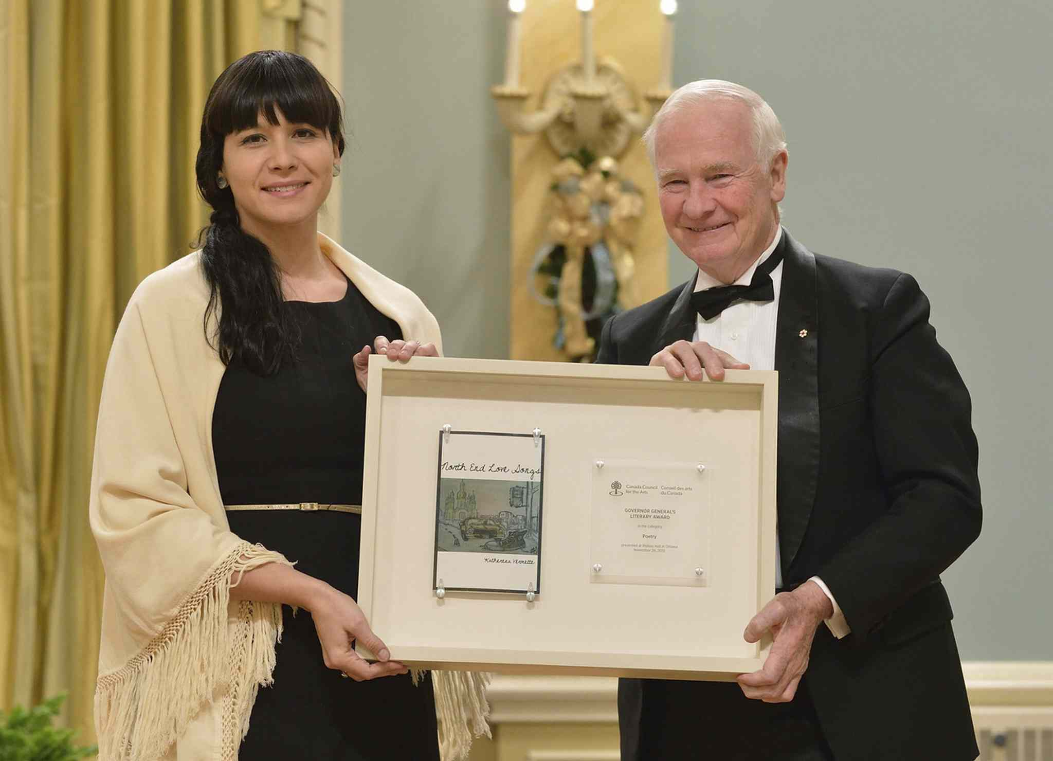 Winnipeg's Katherena Vermette, left, with Gov. Gen. David Johnston, was one of 14 recipients of the 2013 Governor General's Literary Award for her book, North End Love Songs  The poetry book is up for an On the Same Page program award.