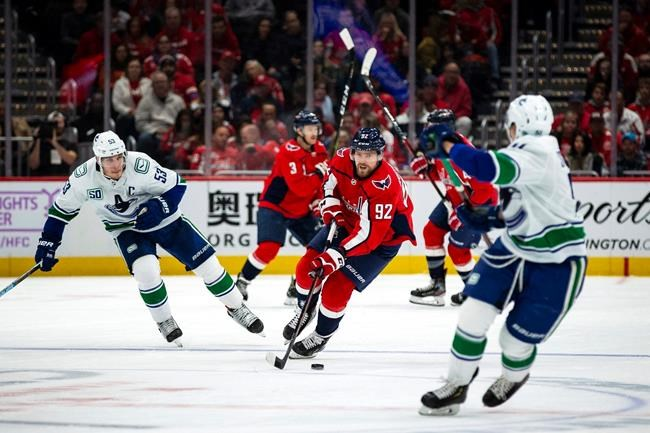 Washington Capitals center Evgeny Kuznetsov (92), from Russia, moves the puck past Vancouver Canucks center Bo Horvat (53) during the second period of an NHL hockey game, Saturday, Nov. 23, 2019, in Washington. (AP Photo/Al Drago)