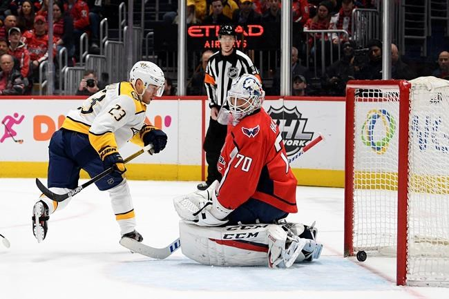 Nashville Predators right wing Rocco Grimaldi (23) scores a goal against Washington Capitals goaltender Braden Holtby during the first period of an NHL hockey game, Wednesday, Jan. 29, 2020, in Washington. The Predators won 5-4. (AP Photo/Nick Wass)